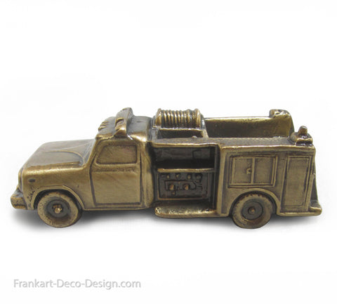 1950's classic fire truck desk paperweight or statue in brass - Frankart Deco Design