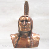 "American Indian figure 6-1/2"" copper bank or statue"
