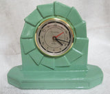 Art Deco industrial quartz alarm clock finished in Frankart green, c1980