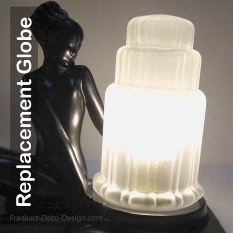 "Replacement art deco tiered skyscraper 6"" frosted clear glass light shade"