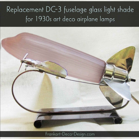 DC-3 airplane replacement lamp globe for 1930's model art deco shade pink glass