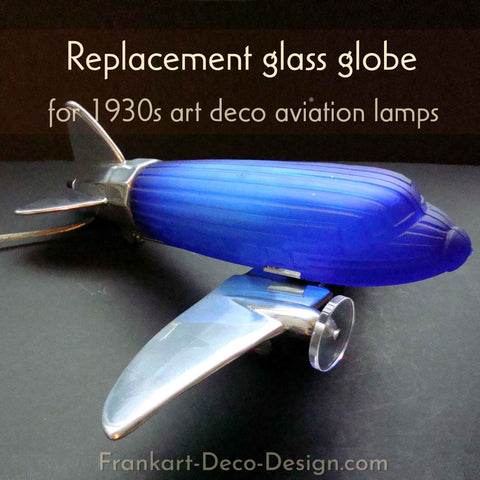 Cobalt blue glass replacement globe for 1930s art deco DC-3 airplane lamps
