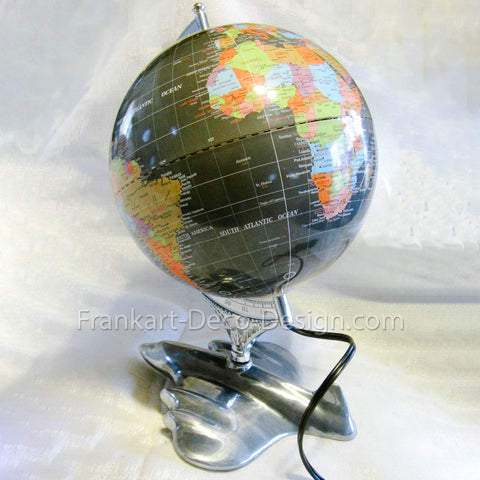 "Airplane and World Globe 17"" art deco table lamp - Frankart Deco Design"