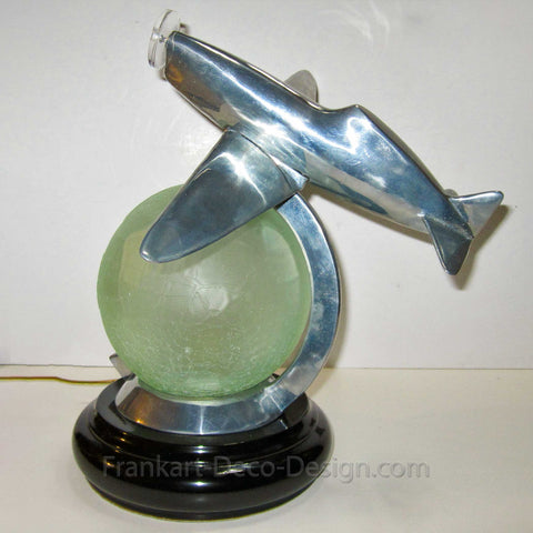 WWII Fighter Airplane art deco crackle globe table lamp