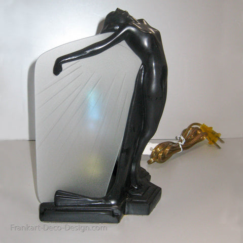 Frankart Butterfly Nymph art deco table lamp in black and glass
