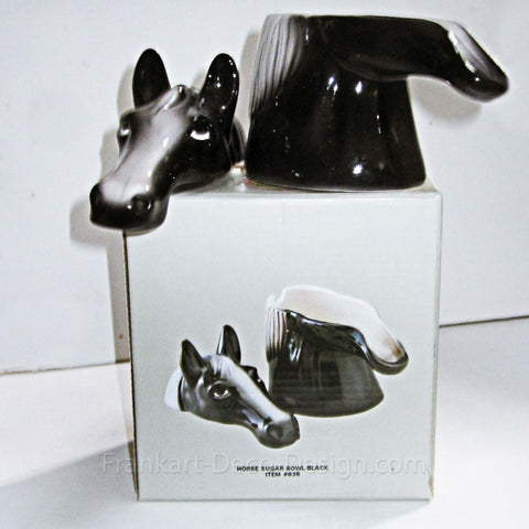 Black horse head glazed ceramic sugar bowl