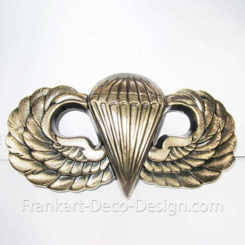 "WWII U.S. Army Airborne Parachute Wings paratrooper 9"" brass plaque"