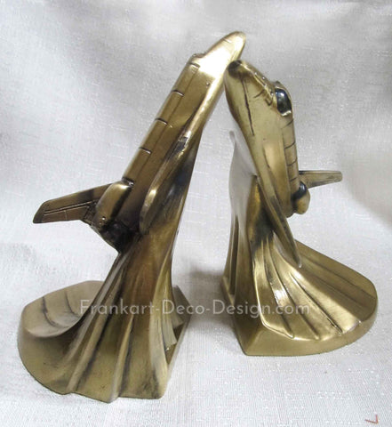 Space shuttle space age art deco brass bookends (pair)