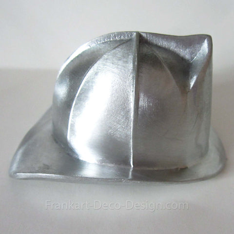 "Firefighters's Helmet 3"" brushed aluminum paperweight"
