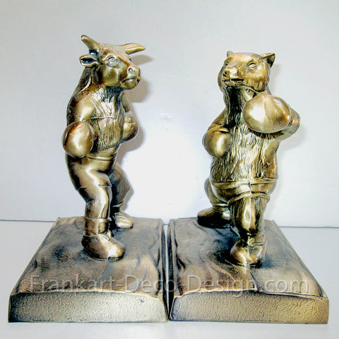 Bull and Bear stock market heavy brass bookends (pair) - Frankart Deco Design