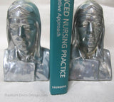 Charles A. Lindbergh (Lucky Lindy) polished aluminum bookends (pair)