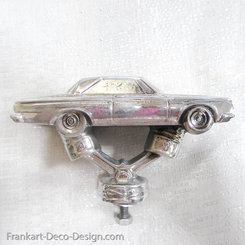 1960's Chrysler Charger hood ornament or mascot in polished aluminum - Frankart Deco Design