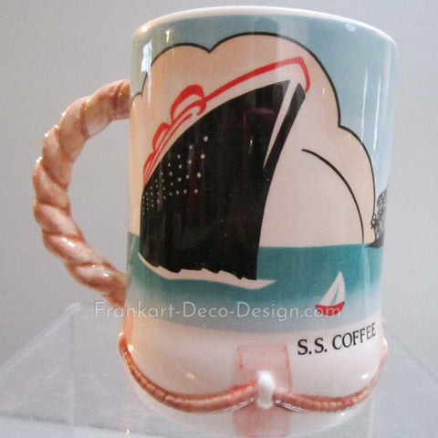 S.S. Coffee Steamship glazed ceramic coffee mug with rope handle