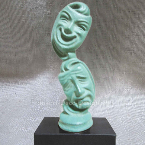 Comedy tragedy drama masks paperweight in green patina and marble