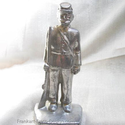 "Confederate Civil War Soldier Boy 7-3/4"" statue polished aluminum"