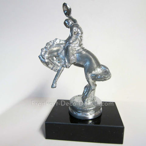 Bucking Bronco rodeo rider figurine in sanded aluminum and marble - Frankart Deco Design