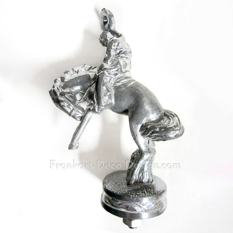 Cowboy and bucking bronco sanded aluminum hood ornament