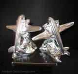 DC-3 McDonall Douglas airplane Art Deco bookends of unfinished aluminum (pair)