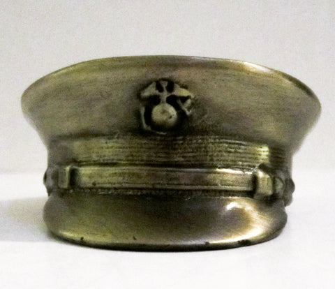 USMC Marine Corps full dress hat antique brass paperweight