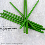 "Bakelite Catalin lime green round rods 1/4"" by 7"", unpolished - Frankart Deco Design"