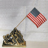 USMC WWII Iwo Jima Raising the Flag brass monument statue with flag - Frankart Deco Design