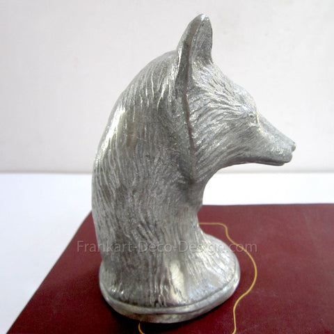 "Fox Bust large 4"" vintage aluminum paperweight"