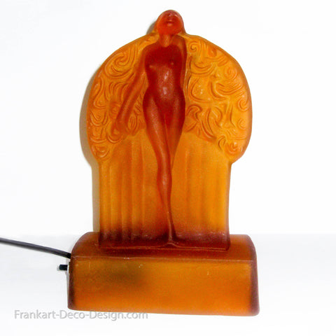 Frankart Sally Rand nude feather Nymph frosted amber glass art deco lamp