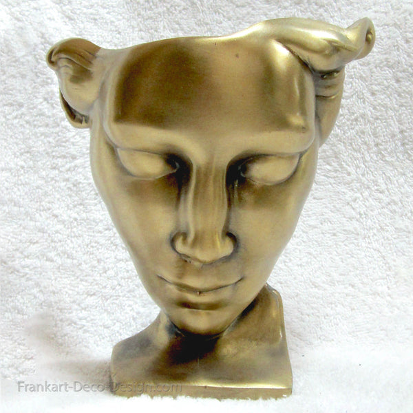 Unwired Frankart art deco Nymph Face lamp body in antique brass