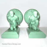 Frankart style Atlas nude male bookends, greenie (pair)