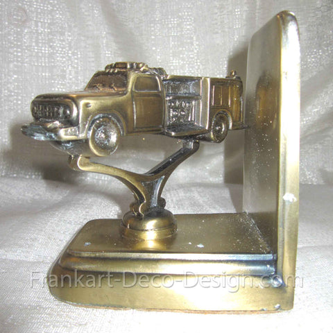 Fire Engine beautifully detailed brass bookend or doorstop