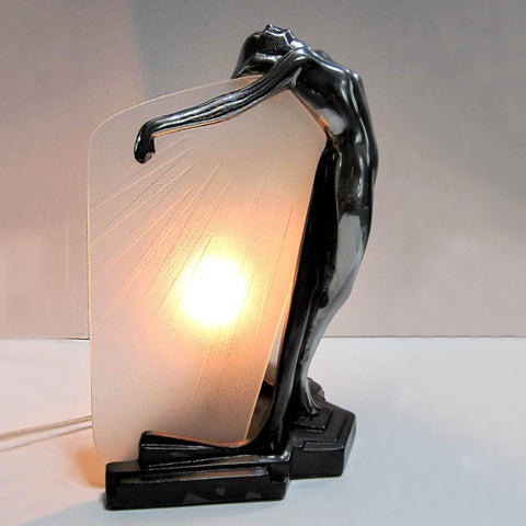 Frankart art deco Butterfly Nymph polished aluminum table lamp with carved glass shade