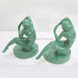 Frankart art deco Kneeling Nymph bookends, greenie (pair)