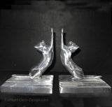 Frankart Moderne Stretching Cats  bookends, unfinished aluminum  (pair)