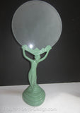 "1920s Frankart-style nude winged nymph 9"" art deco lamp base, green"