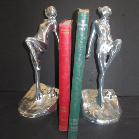 Frankart art deco nymph with frog bookends, sanded aluminum (pair)