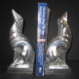 Frankart greyhound bookends in polished aluminum (pair)