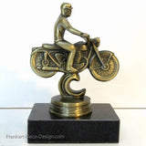 1940s Harley motorcycle bike statue in brass and marble