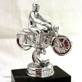 1940s Harley motorcycle bike statue in chrome and marble - Frankart Deco Design