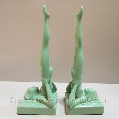 Frankart head-standing nymph art deco bookends, green (pair)