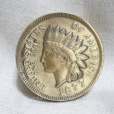 "Classic 1877 Indian Head Coin 3"" brass paperweight"