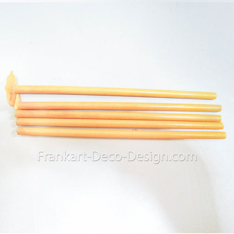 "Yellow unpolished Bakelite Catalin 1/4"" round rod by 7"" long"