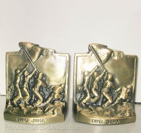 WWII USMC brass Iwo Jima bookends (pair) - Frankart Deco Design