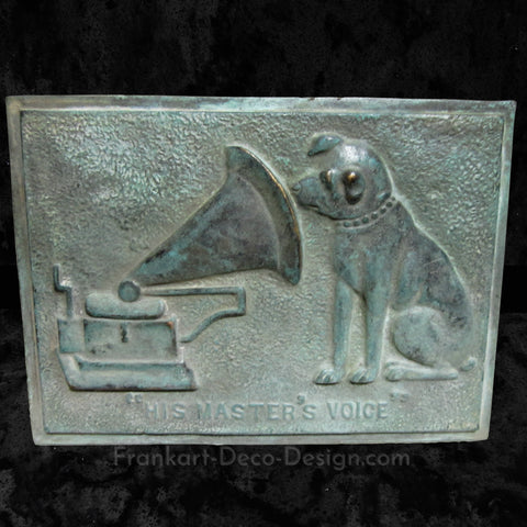 Nipper Victor Edison dog with phonograph large bronze patina wall plaque