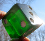 "Bakelite Catalin extra-large green 2"" cube dice (single), rare!"