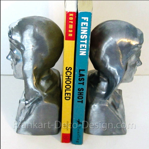 Charles A. Lindbergh (Lucky Lindy) sanded aluminum bookends (pair) - Frankart Deco Design