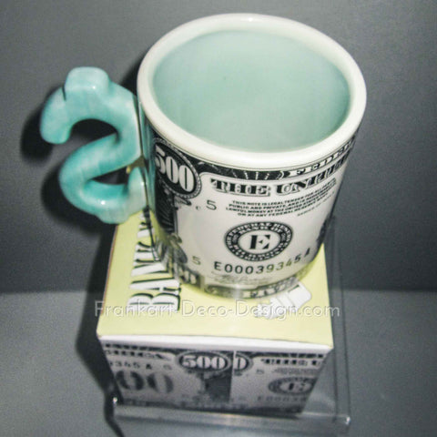 Money $500 bill glazed ceramic coffee mug
