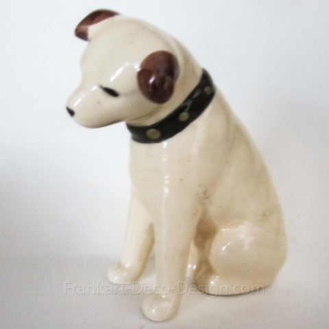 "1980s Victor Edison Nipper dog 3"" ceramic figurine - Frankart Deco Design"