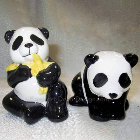 Panda black and white ceramic salt and pepper shakers