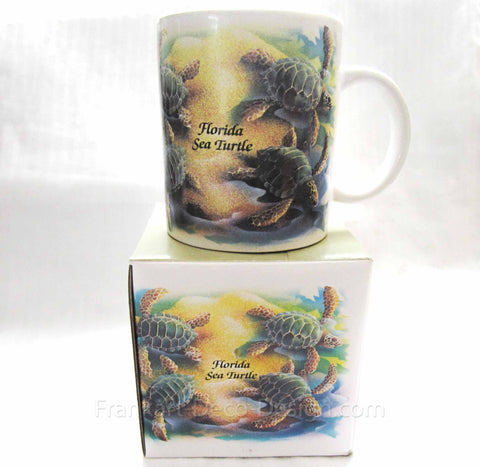 Florida Sea Turtle large glazed ceramic coffee mug
