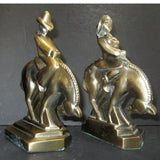 Cowboy and Cowgirl End O' The Trail bookends in brass (pair) - Frankart Deco Design